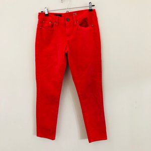 J.Crew Coral Pink Toothpick Ankle Crop Jeans 28
